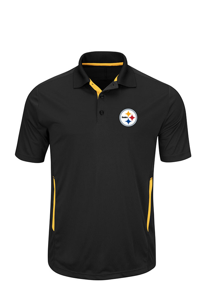 Pittsburgh Steelers Mens Black Field Classic Big and Tall Polos Shirt - Image 1