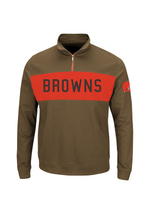 Cleveland Browns Mens Brown Goal Line 1/4 Zip Pullover