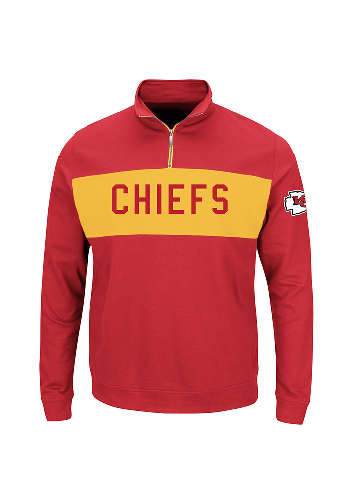 Kansas City Chiefs Mens Red Goal Line Big and Tall 1/4 Zip Pullover - Image 1