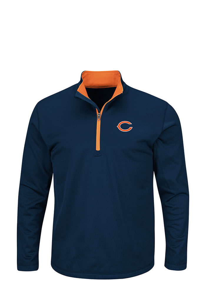 Chicago Bears Mens Navy Blue Scoreboard Big and Tall 1/4 Zip Pullover - Image 1