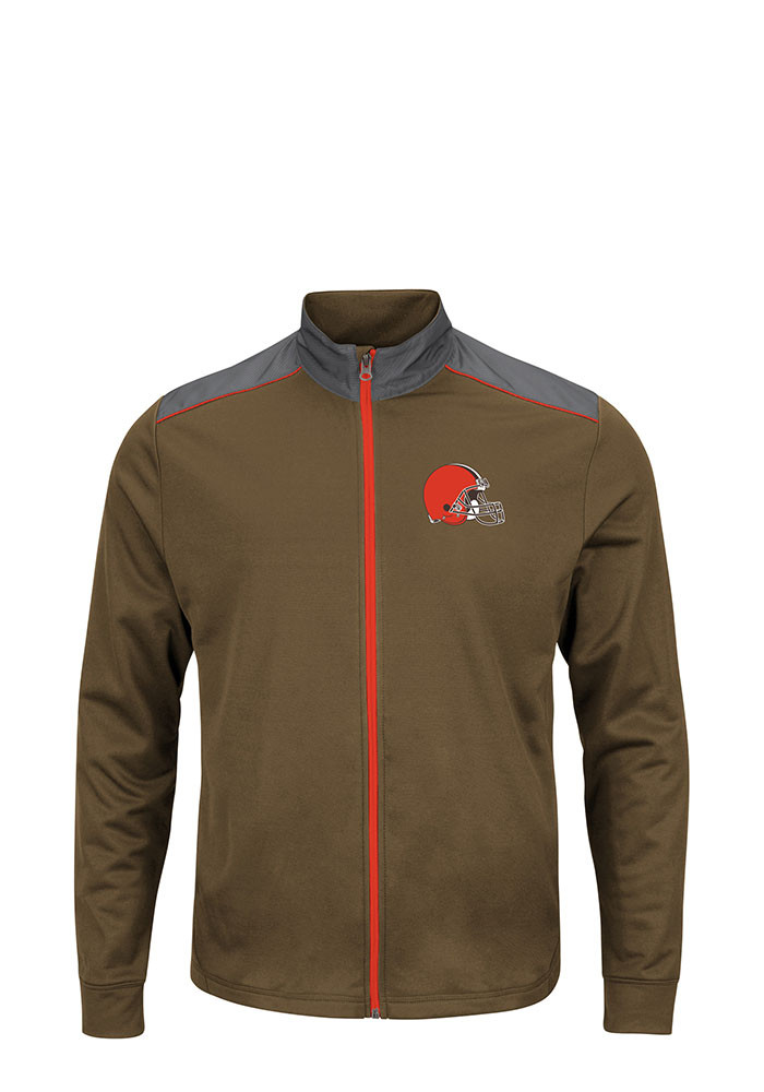Cleveland Browns Mens Brown Tech Big and Tall Zip Sweatshirt - Image 1
