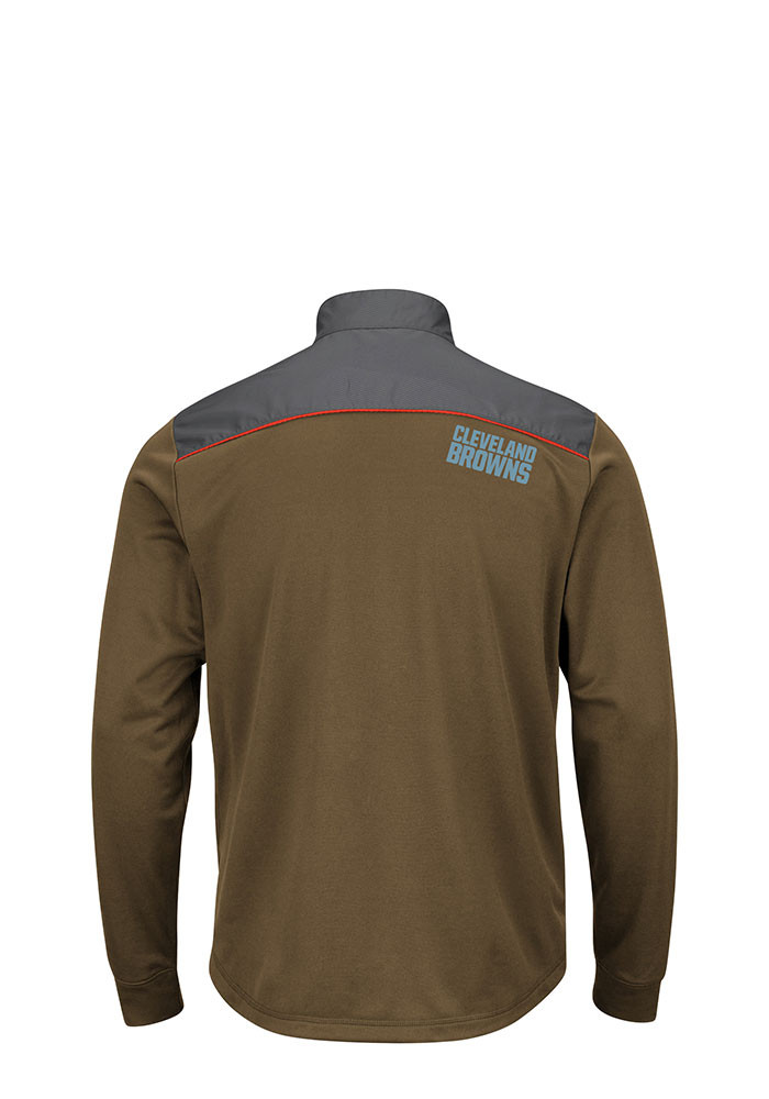 Cleveland Browns Mens Brown Tech Big and Tall Zip Sweatshirt - Image 2