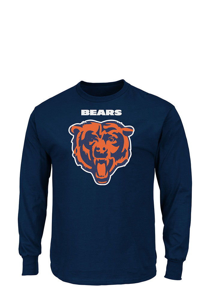Chicago Bears Mens Navy Blue Critical Victory Big and Tall Long Sleeve T-Shirt - Image 1
