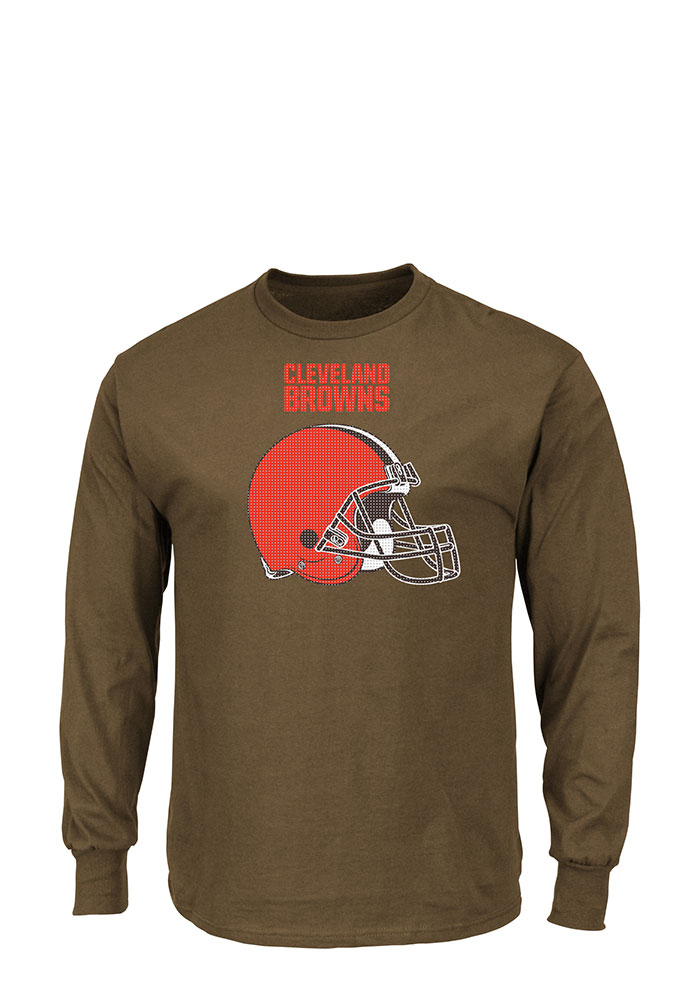 Cleveland Browns Mens Brown Critical Victory Big and Tall Long Sleeve T-Shirt - Image 1