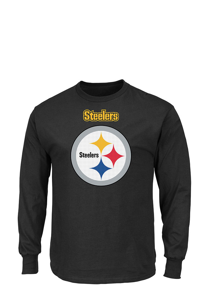 Pittsburgh Steelers Mens Black Critical Victory Big and Tall Long Sleeve T-Shirt - Image 1