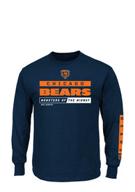 lowest price 4764f 2b92e Chicago Bears Navy Blue Primary Receiver Long Sleeve T-Shirt