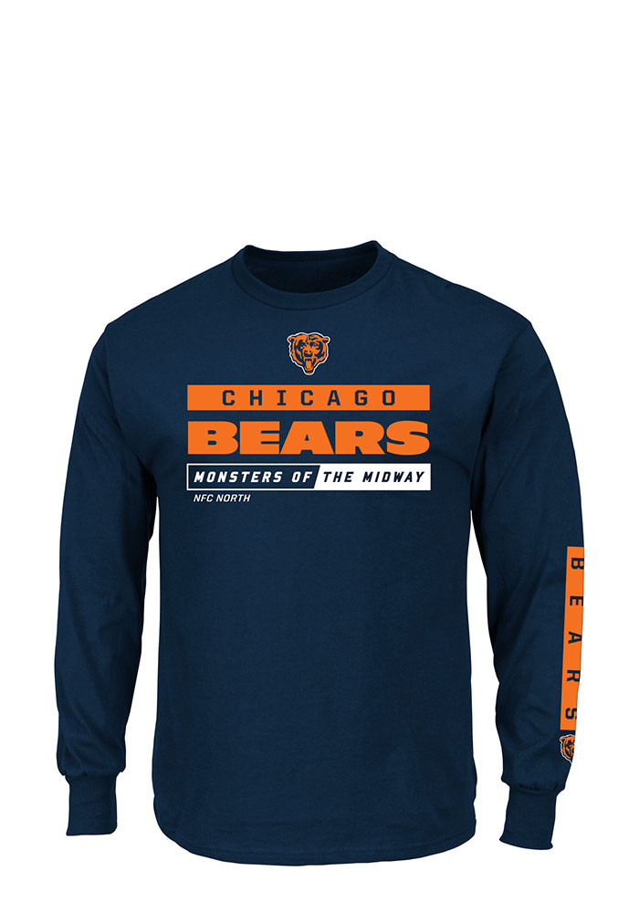 Chicago Bears Mens Navy Blue Primary Receiver Big and Tall Long Sleeve T-Shirt - Image 1