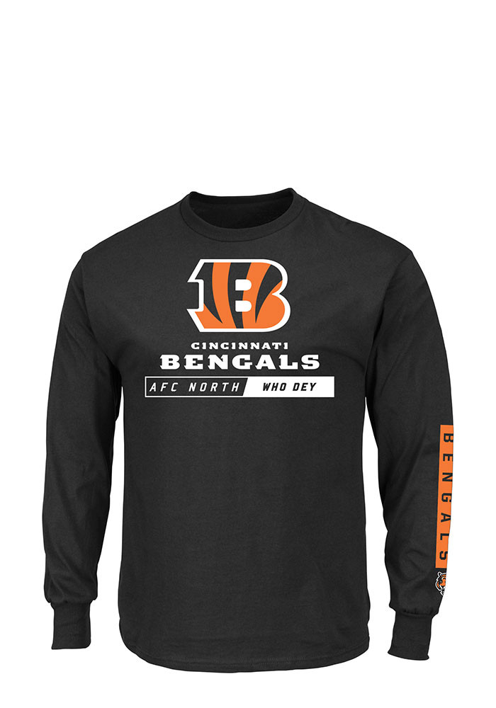Cincinnati Bengals Mens Black Primary Receiver Big and Tall Long Sleeve T-Shirt - Image 1