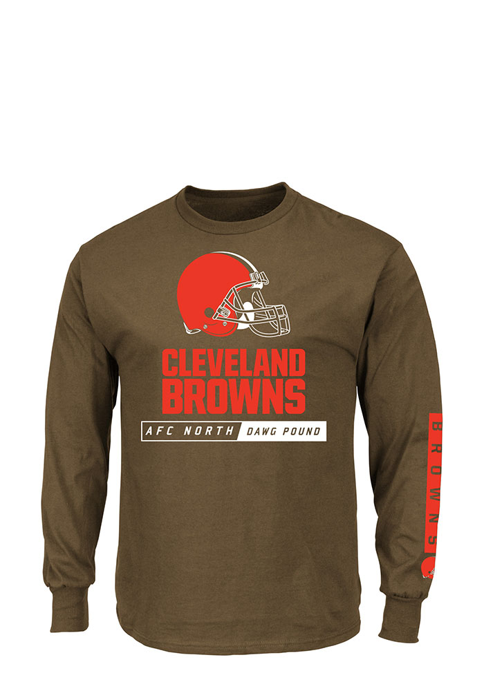 Cleveland Browns Mens Brown Primary Receiver Big and Tall Long Sleeve T-Shirt - Image 1