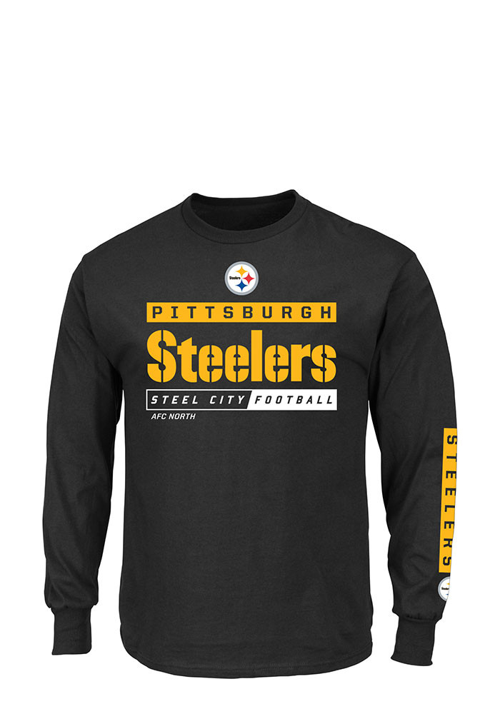 Pittsburgh Steelers Mens Black Primary Receiver Big and Tall Long Sleeve T-Shirt - Image 1