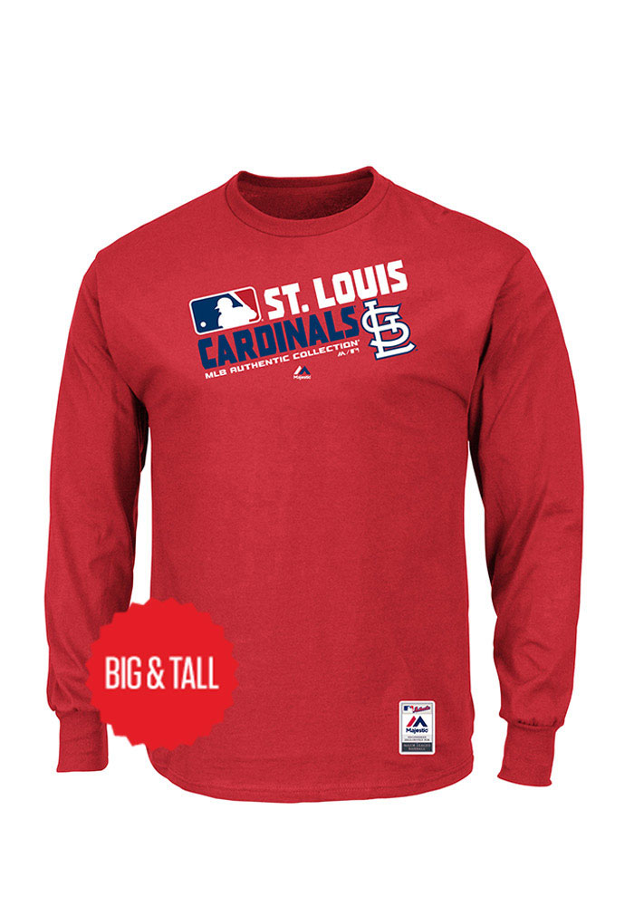 St Louis Cardinals Mens Red Team Choice Big and Tall Long Sleeve T-Shirt - Image 1