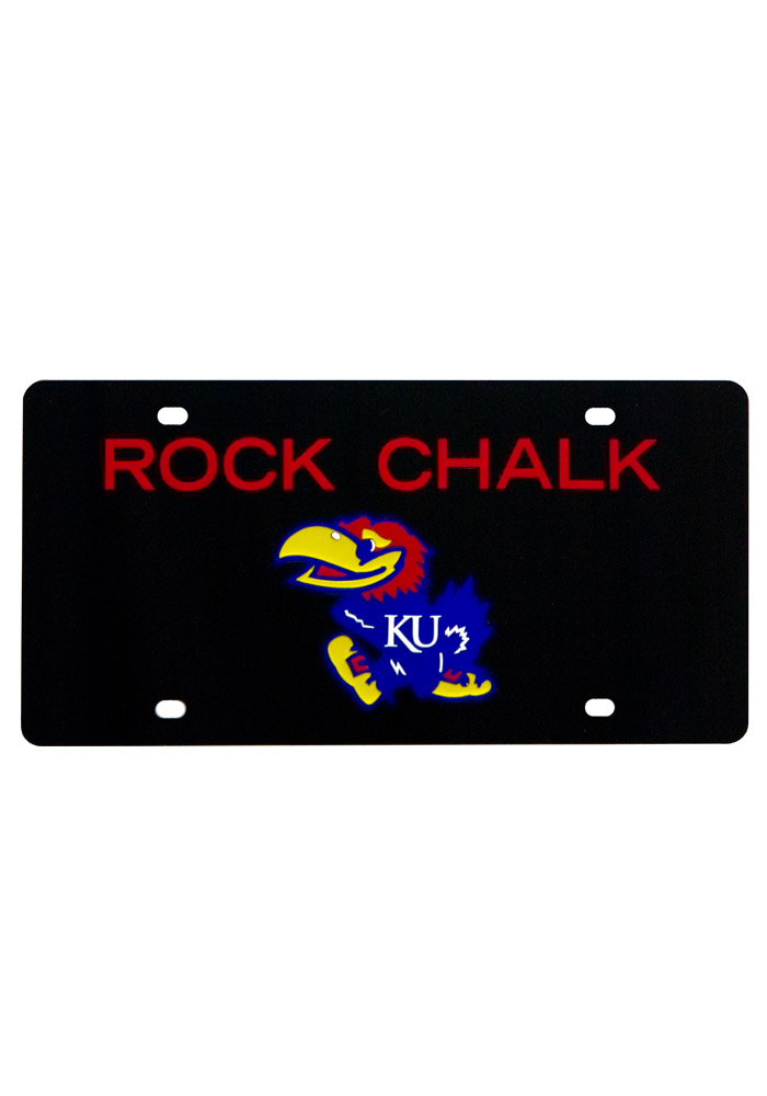 Kansas Jayhawks Rock Chalk Black Car Accessory License Plate - Image 1
