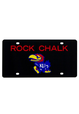 Kansas Jayhawks Rock Chalk Black Car Accessory License Plate