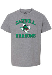 Carroll High School Dragons Youth Rally Number One Design Distressed T-Shirt - Grey