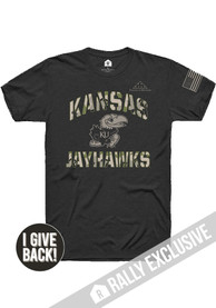 Kansas Jayhawks Rally Folds of Honor Camo Number One Fashion T Shirt - Black