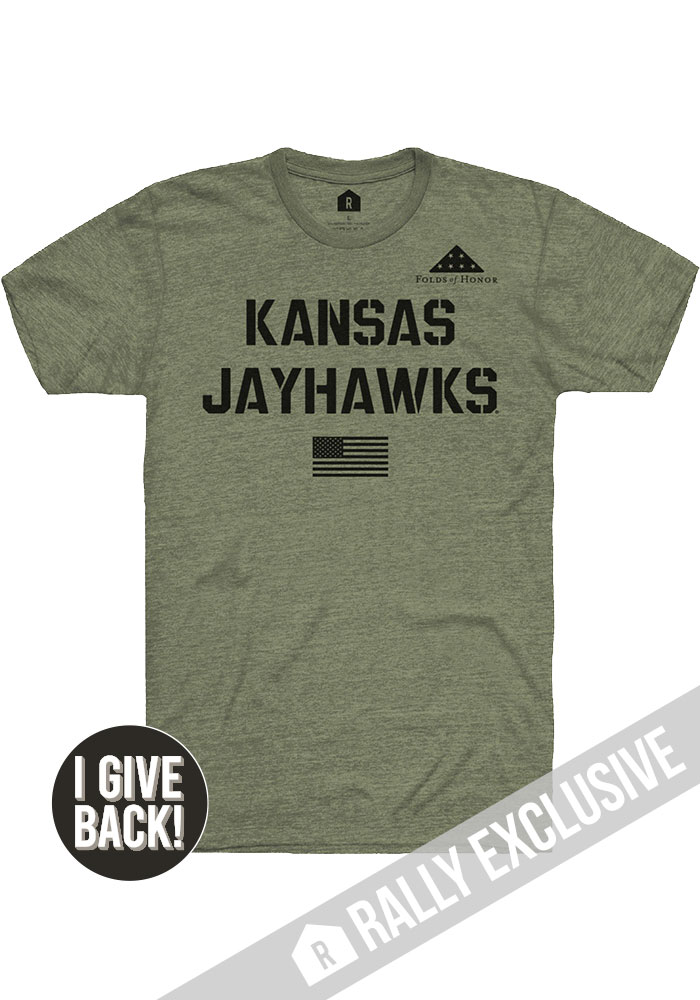 Rally Kansas Jayhawks Olive Folds of Honor Stencil Short Sleeve Fashion T Shirt - Image 1