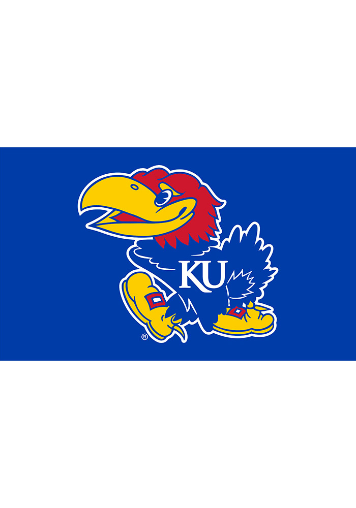 Kansas Jayhawks 3x5 Team Logo Blue Silk Screen Grommet Flag - Image 1