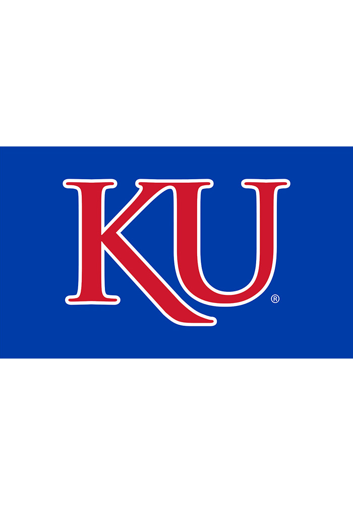 Kansas Jayhawks 3x5 Red Trajen Blue Silk Screen Grommet Flag