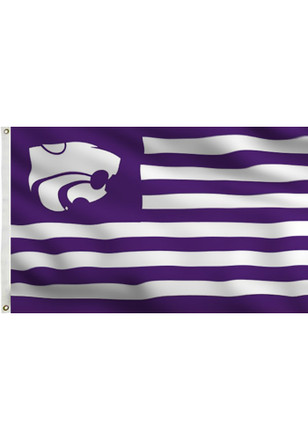 K-State Wildcats Stripe Design Grommet Purple Silk Screen Grommet Flag