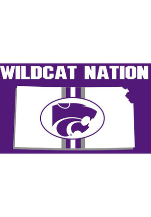 K-State Wildcats Logo In State Grommet Purple Silk Screen Grommet Flag