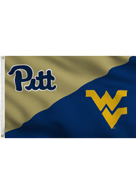 Pitt Panthers and West Virginia House Divided Gold Silk Screen Grommet Flag