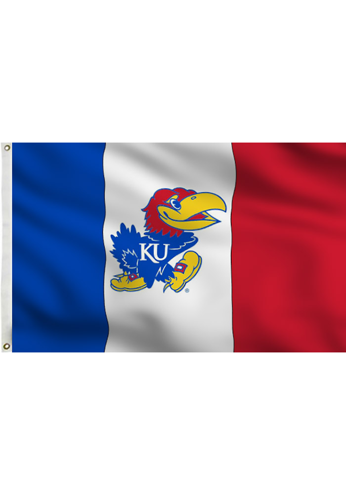 Kansas Jayhawks 3 Panel Blue Silk Screen Grommet Flag - Image 1
