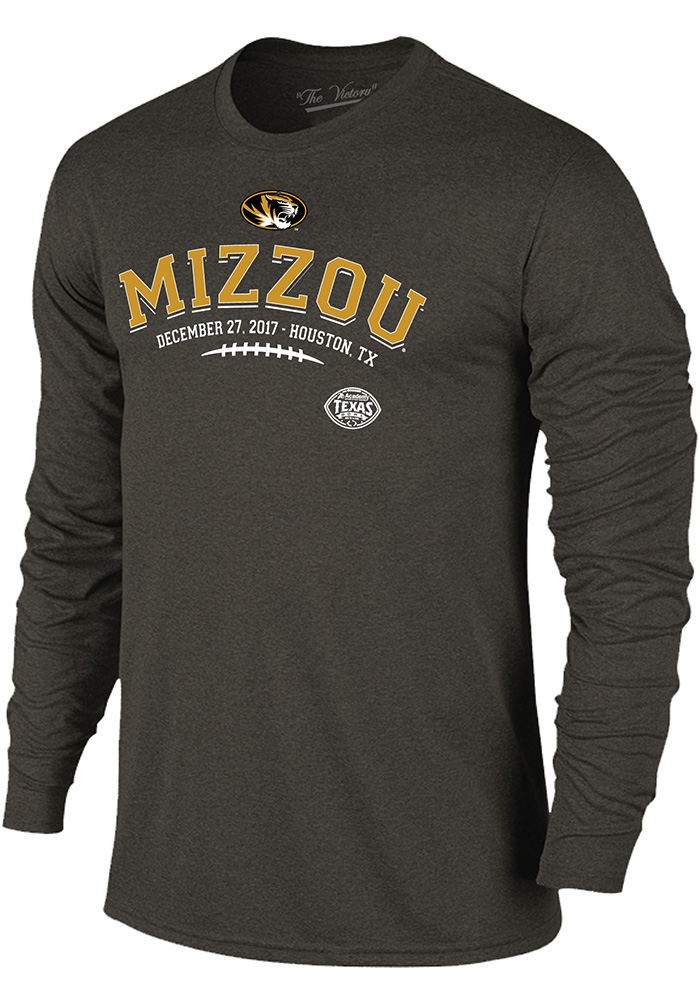 Missouri Tigers Mens Grey Laces Long Sleeve Fashion T Shirt - Image 1