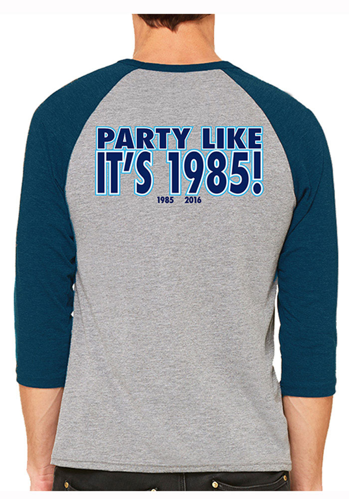 Villanova Wildcats Mens Grey Party Like It's Long Sleeve Fashion T Shirt - Image 2