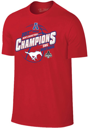 SMU Mustangs Mens Red 2017 AAC Conference Tournament Champions Fashion Tee