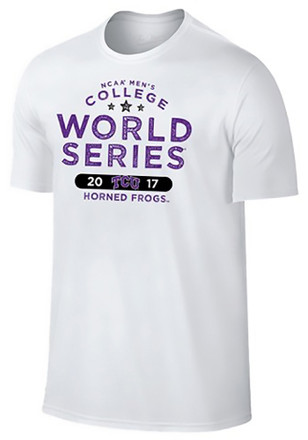 Horned Frogs Mens White 2017 College World Series Fashion Tee