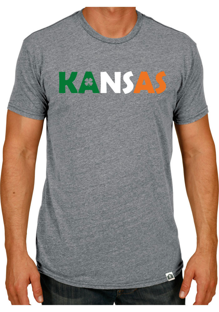 Rally Kansas Grey Irish Flag Wordmark Fashion Tee - Image 1