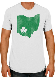 Rally Ohio White Shamrock State Shape Short Sleeve T Shirt