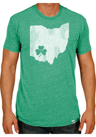 Rally Ohio Green Shamrock State Shape Short Sleeve T Shirt