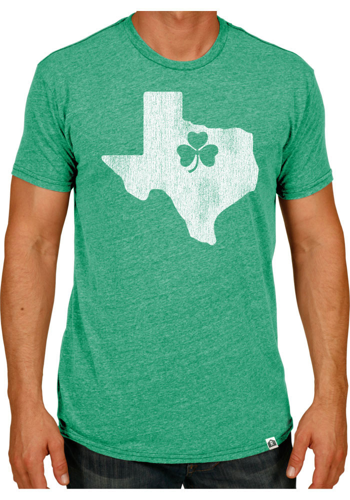 Rally Texas Green State Shape Shamrock Short Sleeve T Shirt - Image 1