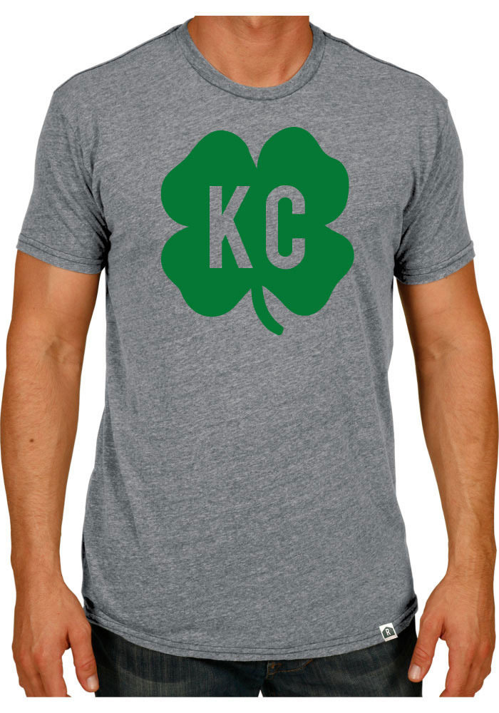 Rally Kansas City Grey Shamrock Initials Short Sleeve Fashion T Shirt - Image 1