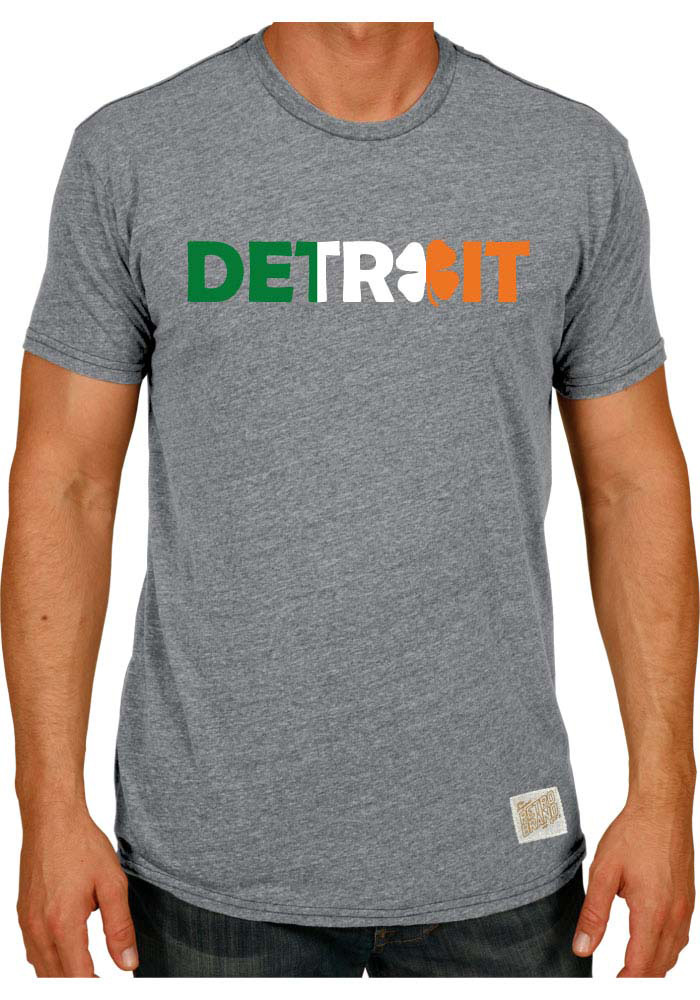 Detroit Grey Irish Flag City Wordmark Short Sleeve Fashion T Shirt - Image 1