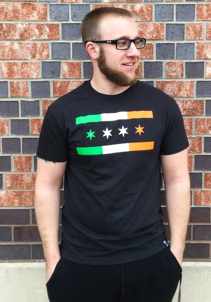 Rally Chicago Dark Grey Irish City Flag Short Sleeve Fashion T Shirt - Image 2