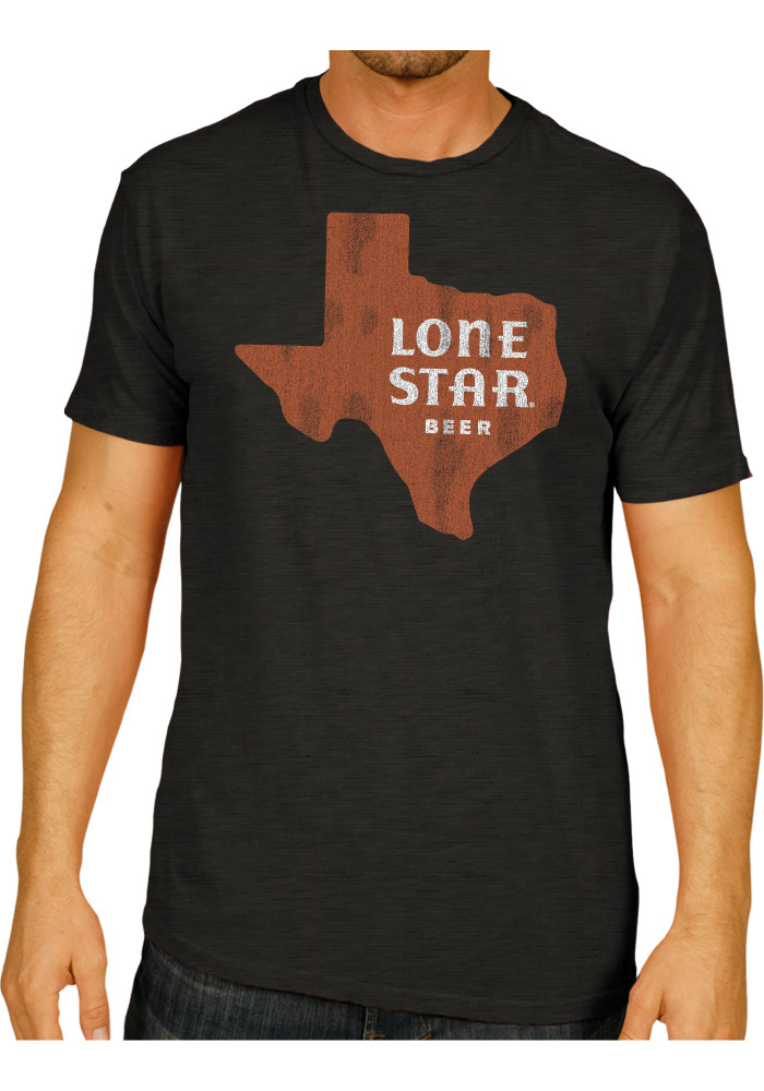 Lone Star Texas Black State Shape Beer Short Sleeve Fashion T Shirt - Image 1