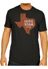 Lone Star Texas Black State Shape Beer Short Sleeve T Shirt