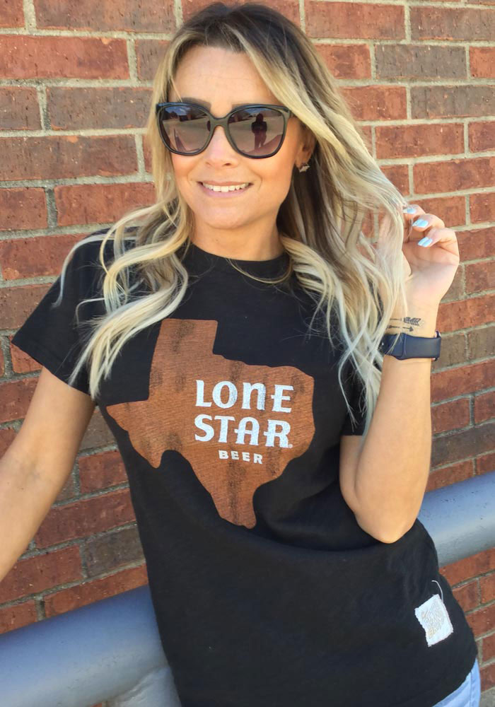 Lone Star Texas Black State Shape Beer Short Sleeve Fashion T Shirt - Image 2