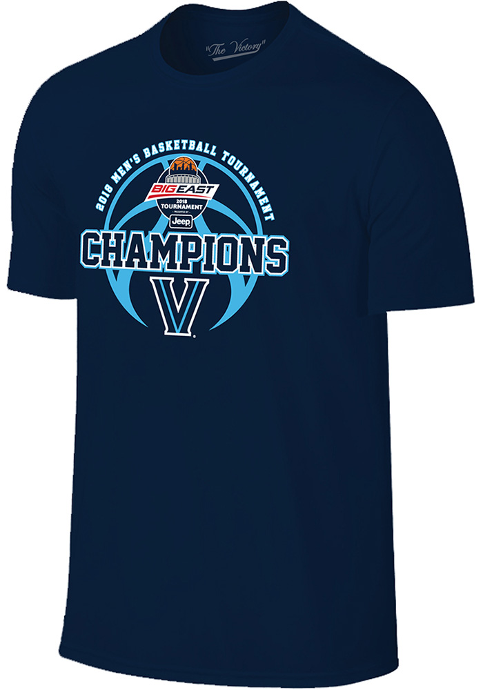 Villanova Wildcats Navy Blue Big East Champion Short Sleeve T Shirt - Image 1