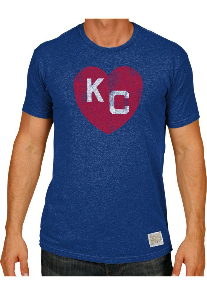 Original Retro Brand Kansas City Monarchs Blue Heart of KC Short Sleeve  Fashion T Shirt - 354f8d984