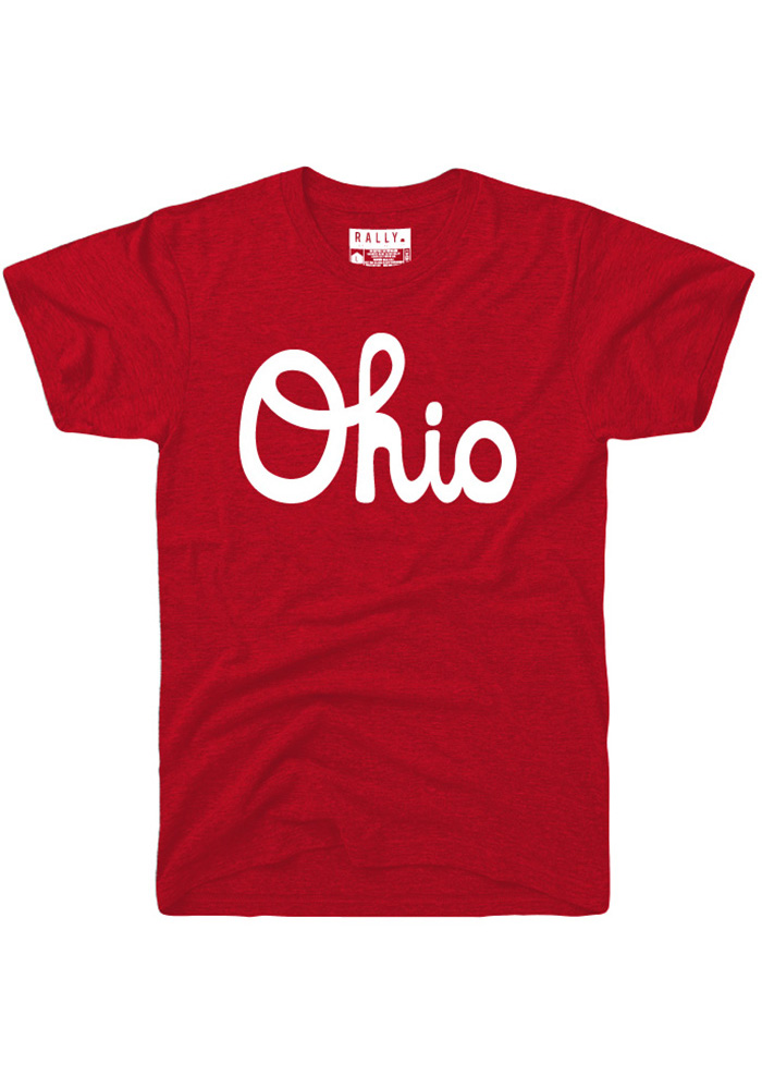 Rally Ohio Red Script Short Sleeve Fashion T Shirt - Image 1