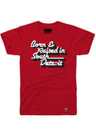 Rally Detroit Red Born Raised In Short Sleeve T Shirt