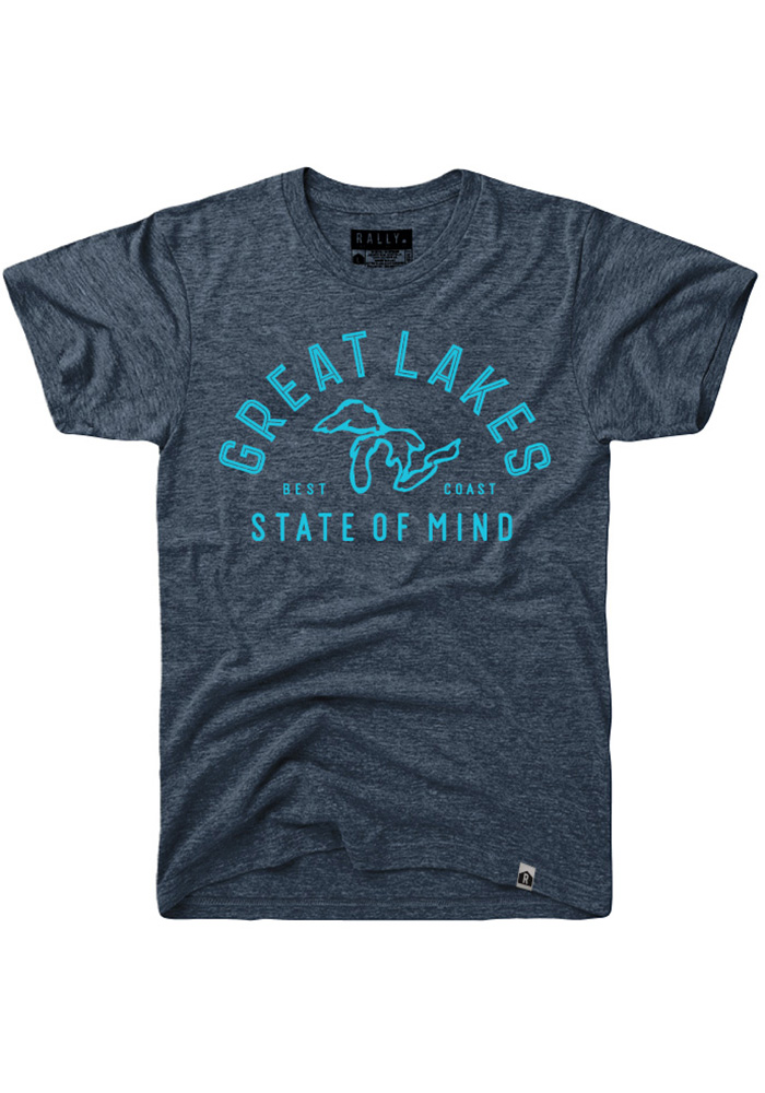 Rally Michigan Navy Blue Great Lakes State of Mind Short Sleeve Fashion T Shirt - Image 1