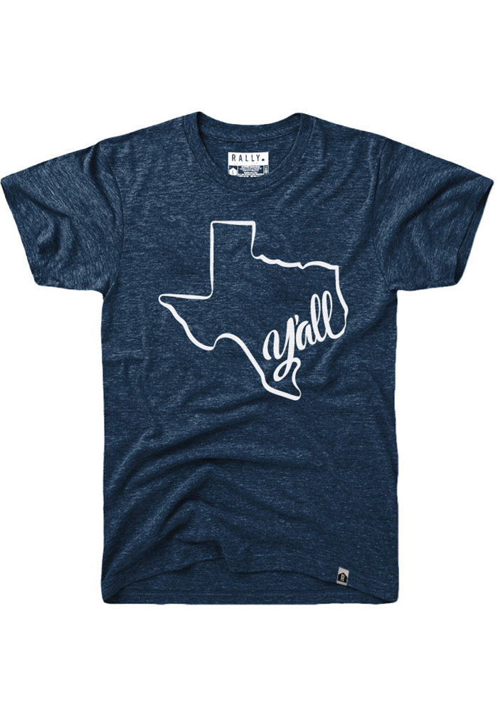 Rally Texas Navy Blue Y'all State Shape Short Sleeve Fashion T Shirt - Image 1