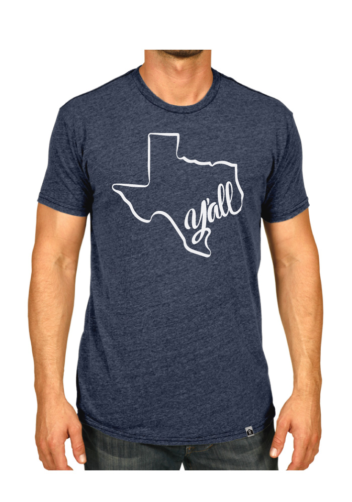 Rally Texas Navy Blue Y'all State Shape Short Sleeve Fashion T Shirt - Image 2