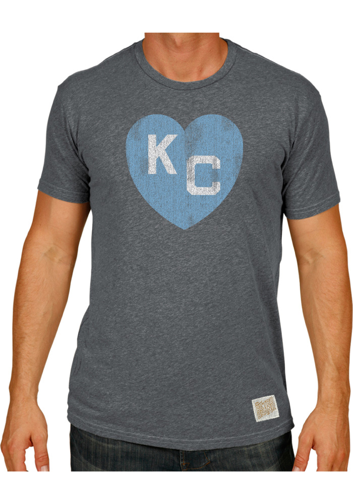 1e53423ef Original Retro Brand Kansas City Monarchs Grey Heart of KC Fashion Tee