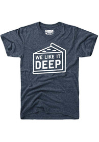 Rally Chicago Navy Blue We Like it Deep Dish Pizza Short Sleeve T Shirt