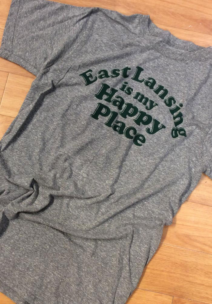 Rally Michigan Grey East Lansing Is My Happy Place Short Sleeve Fashion T Shirt - Image 3